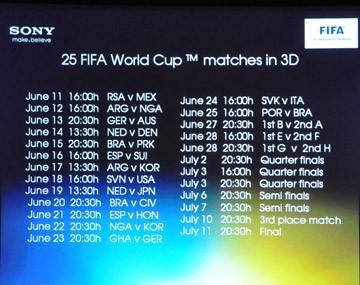FifaSony3D Planning - Match de la coupe du monde en 3D
