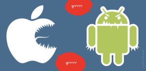 iphone vs android 2 300x146 - Android & iPhones - 25% du marché mondial