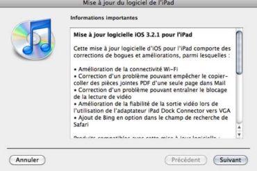 iOS 3.2.1 370x247 - iPad - Mise à jour disponible