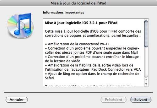 iOS 3.2.1 - iPad - Mise à jour disponible