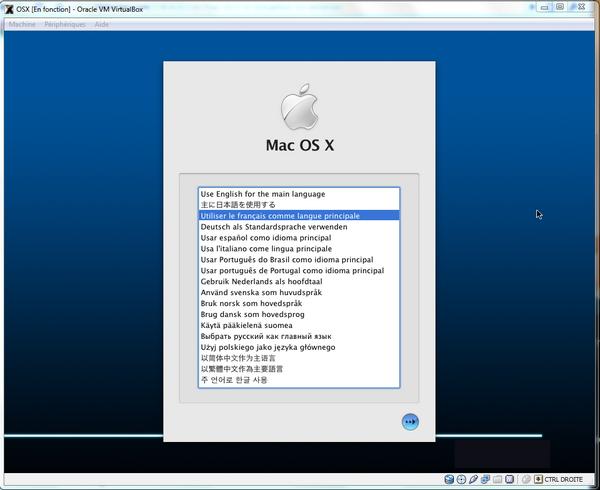 Choix Langue - VirtualBox – Mac OS X sur votre PC (Windows)