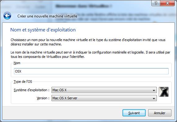 Creation Machine - VirtualBox – Mac OS X sur votre PC (Windows)