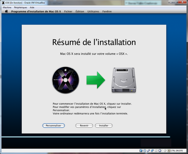 Resume Install - VirtualBox – Mac OS X sur votre PC (Windows)