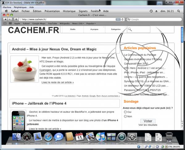 Safari - VirtualBox – Mac OS X sur votre PC (Windows)