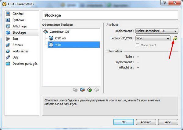 Stockage - VirtualBox – Mac OS X sur votre PC (Windows)