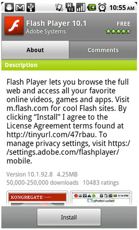 flashplayer10.1 android - Android - Flash 10.1 est arrivé