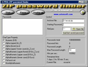 Zip password finder