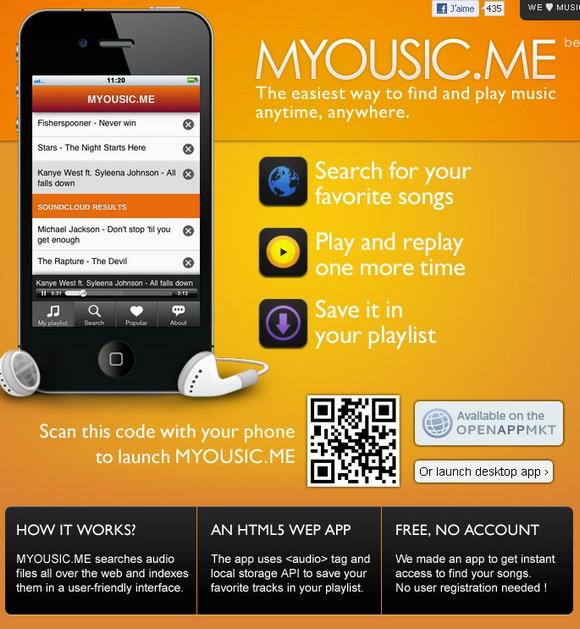 myousic screenshot - Un service de musique gratuit en HTML 5