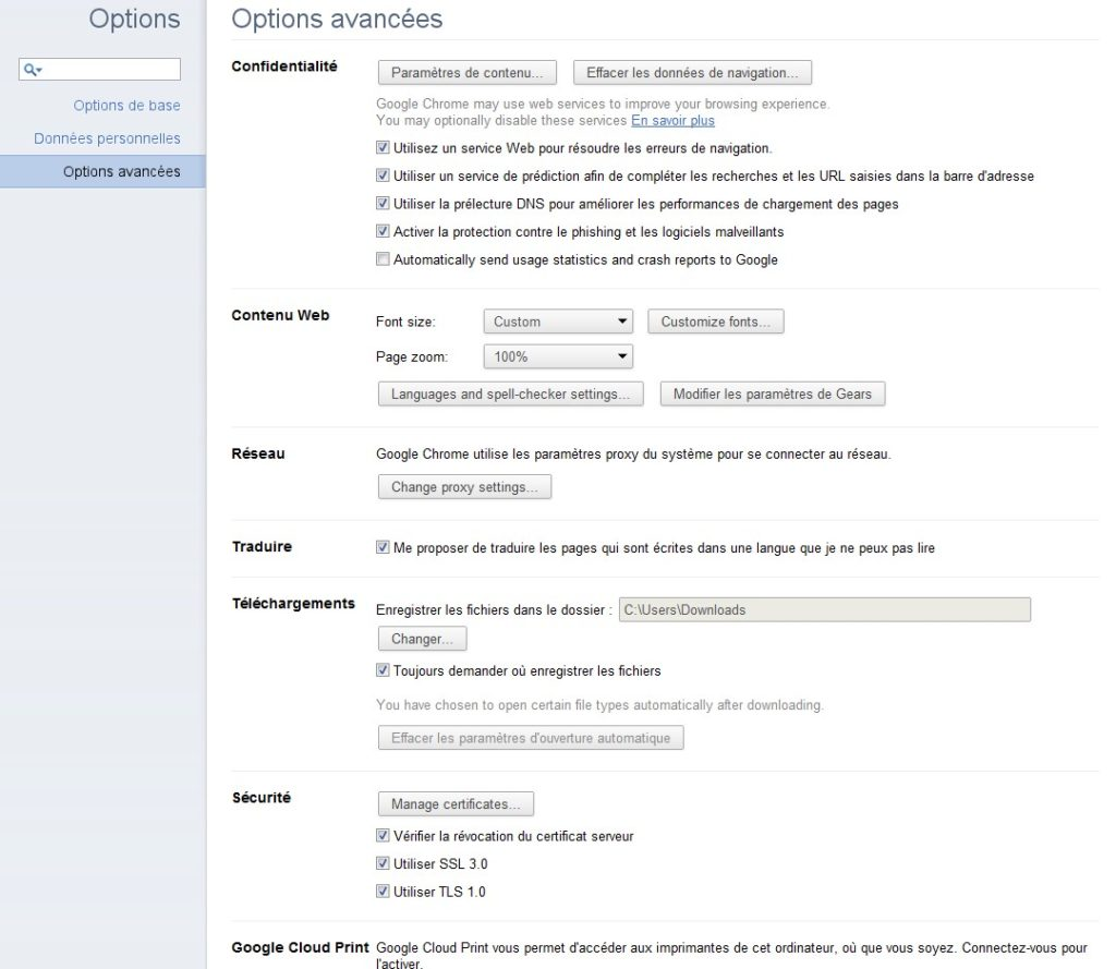 Options Chrome 11 1024x889 - Google Chrome 11 est disponible en version bêta