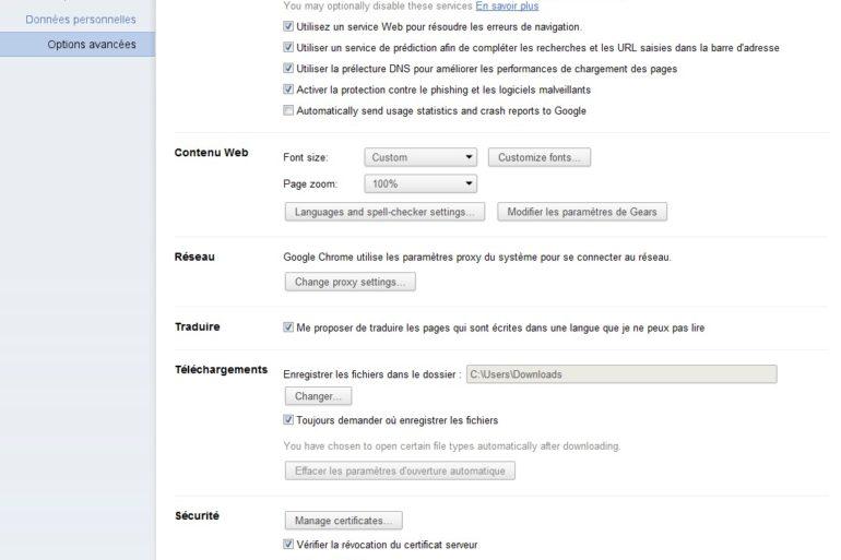 Options Chrome 11 770x513 - Google Chrome 11 est disponible en version bêta