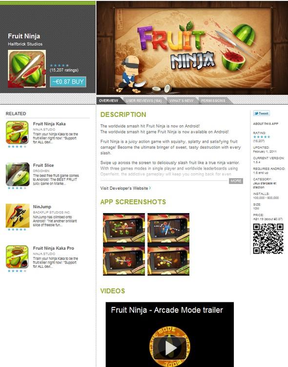 android market webstore Fruit Ninja - Google lance son Android Market Webstore