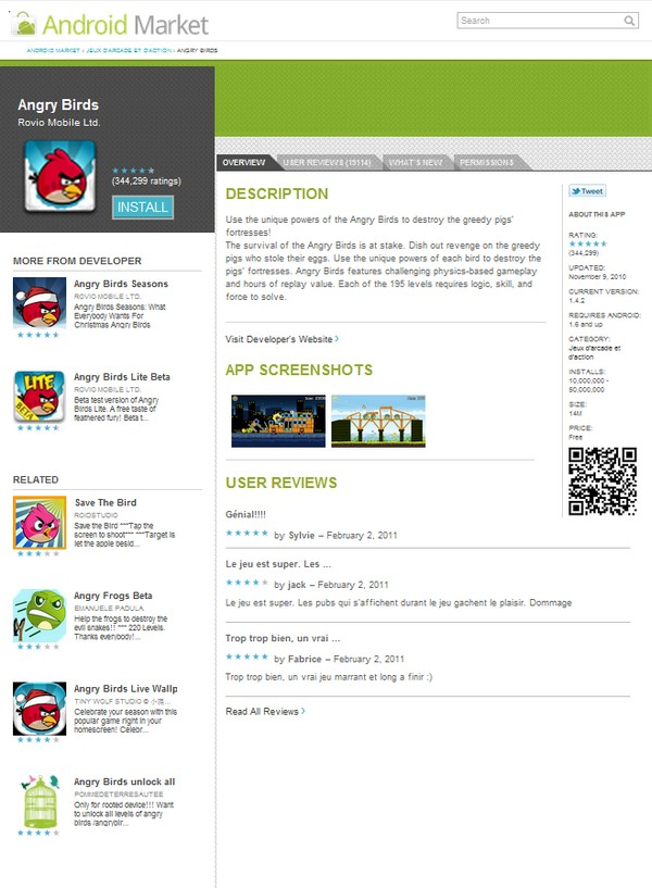 android market webstore Angry Birds