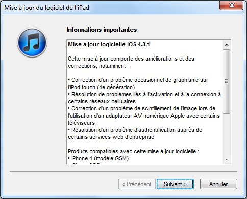 iOS 4.3.1 - Apple met à jour son iOS
