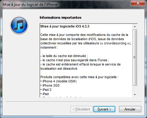 iPhone iOS 4.3.3 - Mise à jour iOS 4.3.3 et Redsn0w...