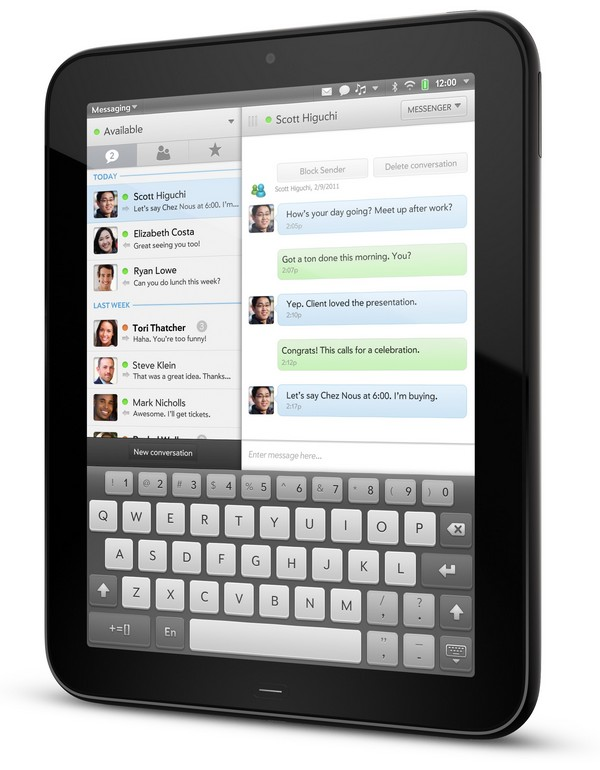 HP TouchPad Messagerie - HP TouchPad débarque en Juillet