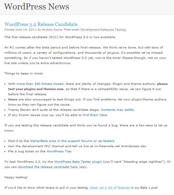 WordPress 3.2 RC1 - Wordpress 3.2 en approche...
