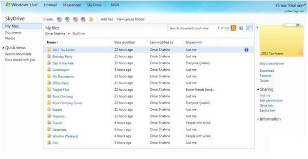 skydrive html 5 Dossier