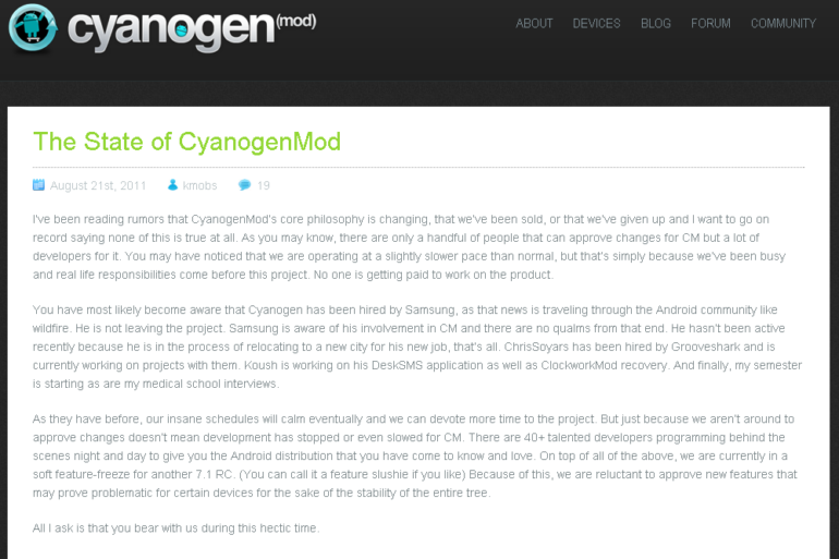 billet cyaogenmod 770x513 - Ralentissement des développements CyanogenMod