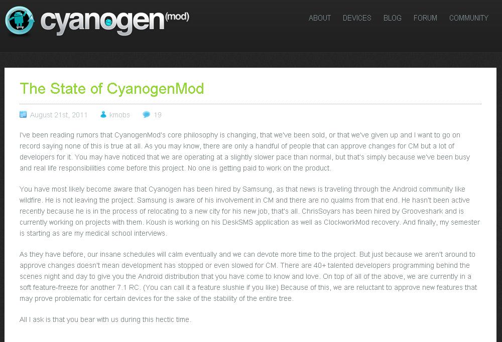 billet cyaogenmod - Ralentissement des développements CyanogenMod