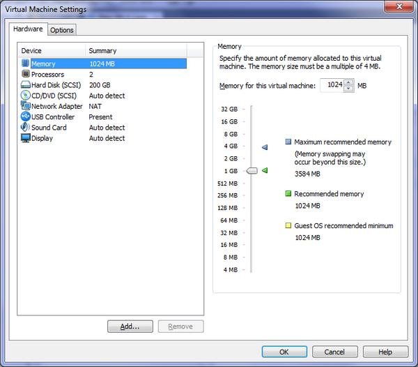 Virtual Machine Settings - VMware – Mac OS X Lion sur votre PC (Windows)