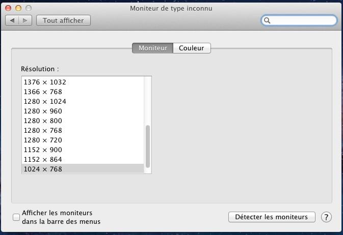 choix de la resolution - VMware – Mac OS X Lion sur votre PC (Windows)
