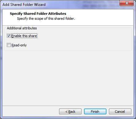 finish shared folder