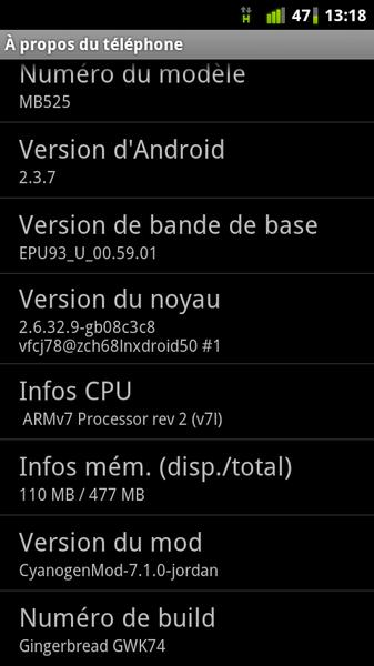 screenshot Defy - CyanogenMod 7.1 - Android 2.3.7