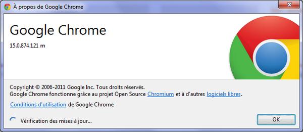 Google Chrome - Mise à jour de Google Chrome 15