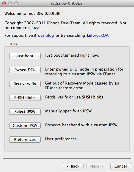 redsn0w 0.9.9b8 - Jailbreak iOS 5.0.1 disponible
