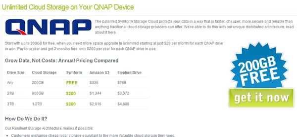 symform 200Go - Gratuit - 200 Go d'espace dans le cloud avec QNAP