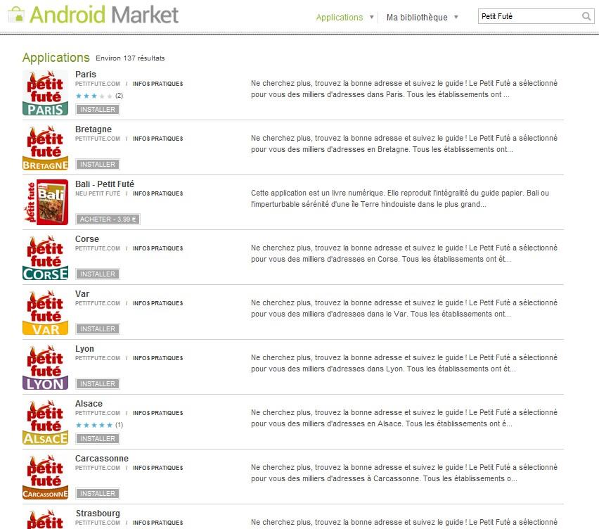 Android market petit fute