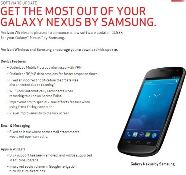 Mise a jour Galaxy Nexus Description