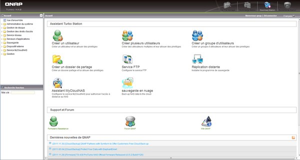 interface qnap - Comparatif NAS 2 baies (fin 2011)