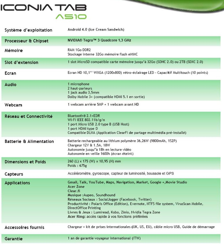 ICONIA TAB A 510 specification