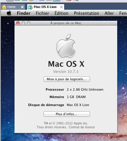 Mac OS X 10.7.3 - Mac OS X 10.7.3 sur PC avec VMware