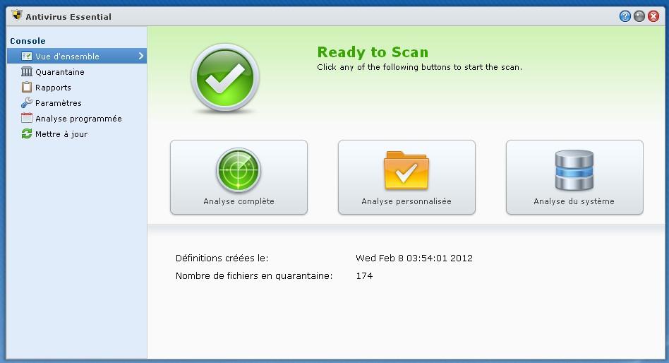Panneau generale AV - Antivirus sur NAS - Premier test !