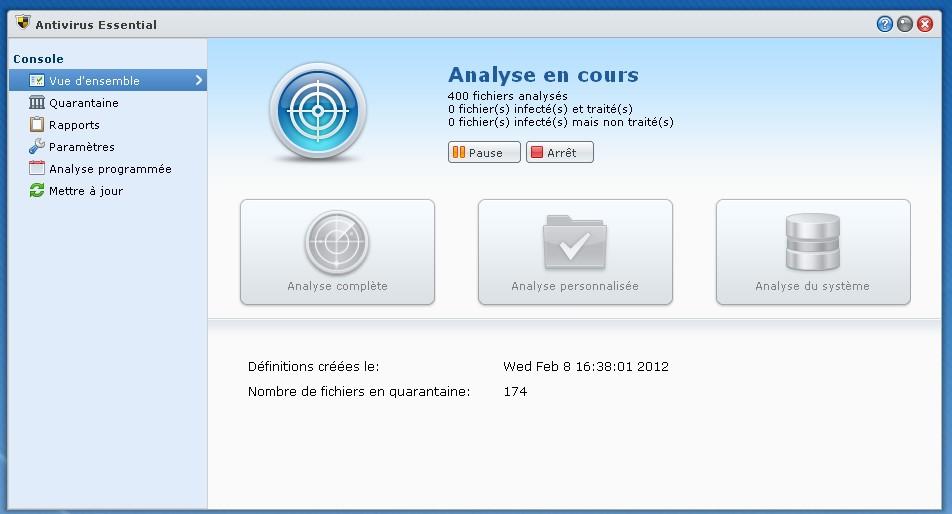 antivirus synology action - Antivirus sur NAS - Premier test !