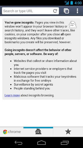 navigation privee - Chrome beta arrive sous Android 4