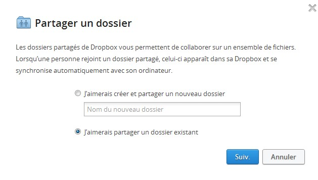 Partager dossier Dropbox Facebook