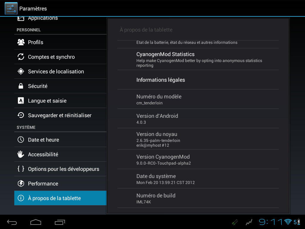 capture Android 4 Alpha2 HP Touchpad - Android - CyanogenMod 9 Alpha 2 débarque sur la TouchPad