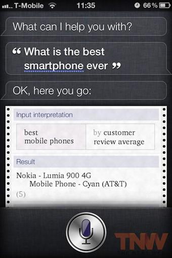 What is the best smartphone ever - Lumia 900 est le meilleur smartphone selon Siri