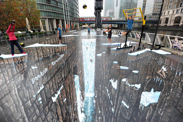 reebok world record chalk drawing 3d - Site illusion d'optique