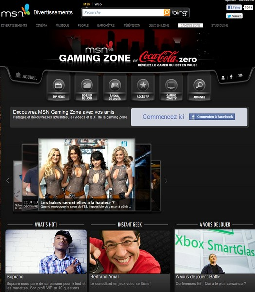 Gaming zone page accueil - Gaming Zone arrive sur MSN