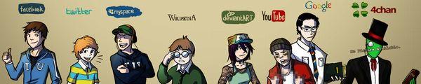 bandeau facebook twitter myspace wikipedia deviantArt YouTube Google 4chan - Les vidéos du vendredi