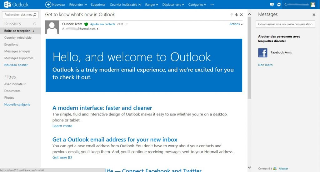 Hello interface outlook.com