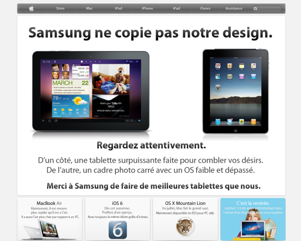 samsung copie design - Apple condamné à dire du bien de Samsung