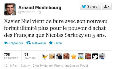 tweet Arnaud Montebourg Free - Hausse des forfaits mobiles