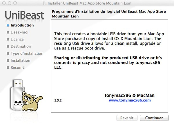 Installer unibeast - Installer OS X Mountain Lion sur un PC