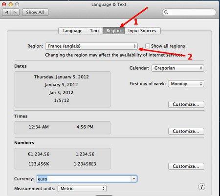 choix region francais - VMware – OS X 10.8 Mountain Lion sur PC Windows