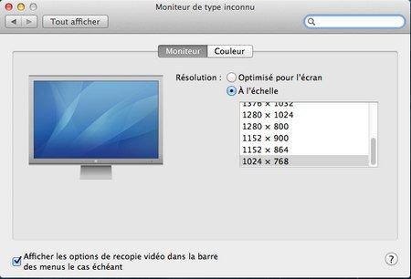 resolution ecran - VMware – OS X 10.8 Mountain Lion sur PC Windows